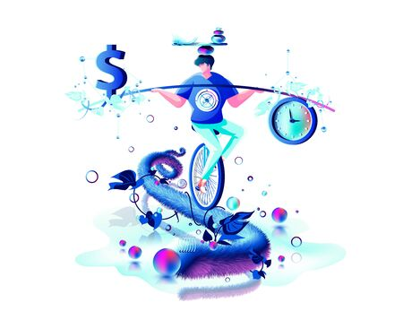 inner balance in hand harmony between money dollar sign and time clock man circus performer riding unicycle rope management Stock fotó - 138104903