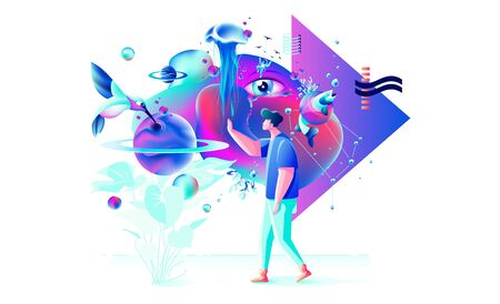 Stock vector abstract Xtreme colorful illustration VR technology man gamer cyberpower virtual reality glasses surreal unreal world fluid futuristic geometric special feature web design business Stock fotó - 138133422
