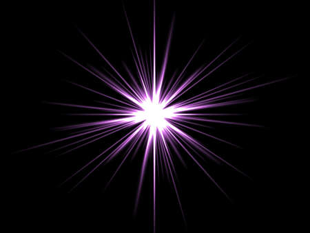 Violet star on a black background. photo