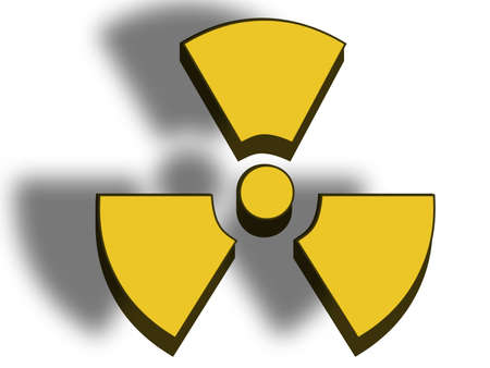 3D illustration of a danger radioactive sign on white background. Stock Illustration - 2856515