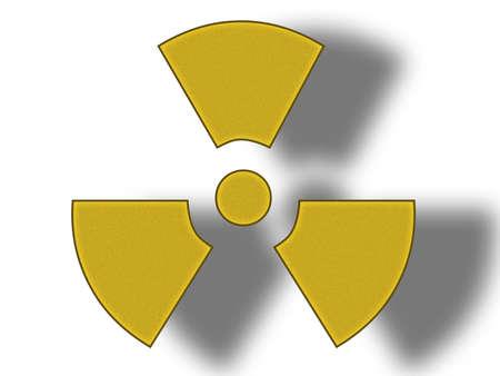 radium: 3D illustration of a danger radioactive sign on white background. Stock Photo