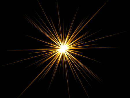 gold glitter: Star on a black background. Stock Photo