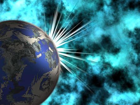 Raster illustration of blue plane, by me in Photoshope. Stock Illustration - 2897023