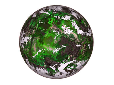 Raster illustration green planet, by me in Photoshope. illustration