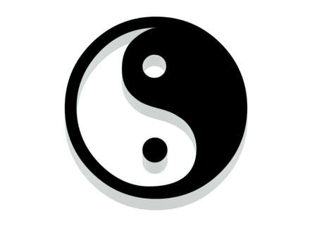 Yin Yang Icon. 3D with reflect. photo