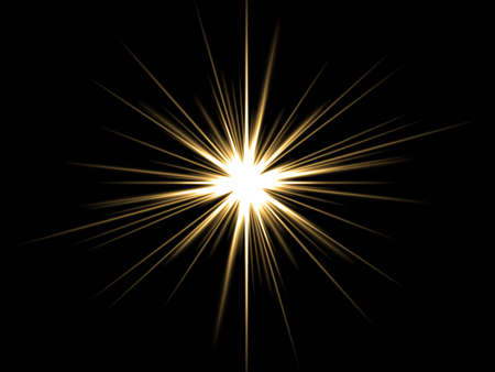Ellow star on a black background. Stock Photo