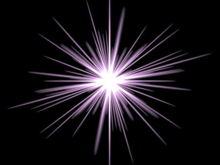 Violet star on a black background. Drawn in Photoshop. Stock Photo