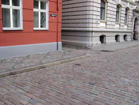 cobble: Medievale granito Cobble strada. Archivio Fotografico