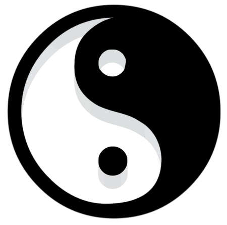Yin Yang Icon. 3D with reflect. Vector