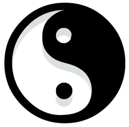 taoisme: Yin Yang pictogram. 3D met reflecteren.