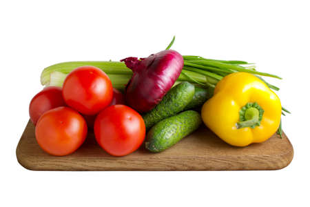 coocing: Fresh vegetables on wooden hardboard