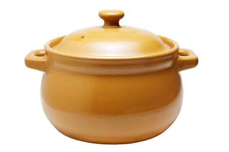 stoneware: Ceramic pot isolated on white background Stock Photo