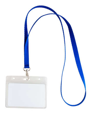 neckband: Blank identification card with blue neckband isoleted on white