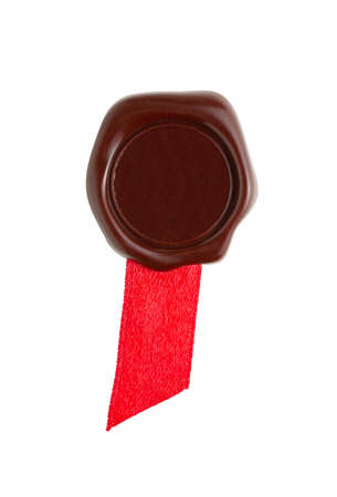 sealing wax with ribbon isolated on white photo