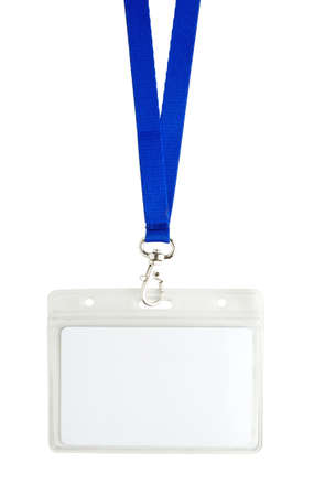 identification card: Blank identification card with blue neckband isoleted on white