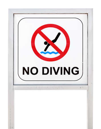 no diving sign: No diving sign isolated on white