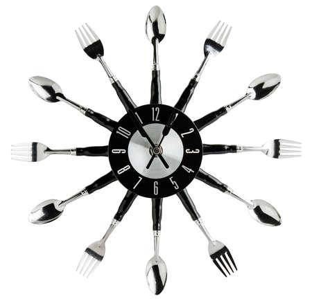 silverware: Reloj de pared de la cocina hecha de plata