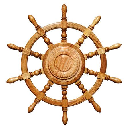 ruder: Schiff Lenkrad isoliert auf wei�