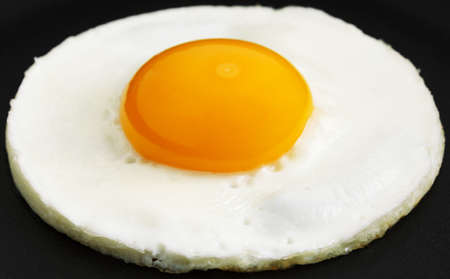 Round fried egg in frying pan close-up