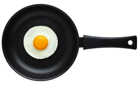Frying pan with fried egg isolated on white