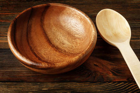 Close Up of wooden spoon and bowl on wood