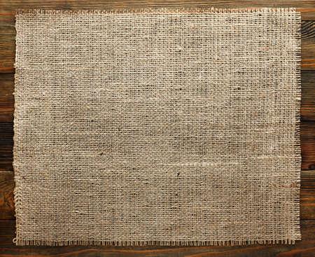 Burlap texture on wood