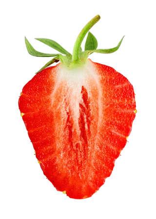 Slice of strawberry isolated on white