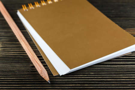 scratchpad: Notebook with pencil on wood close-up
