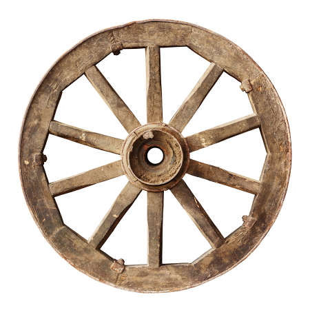 Old wooden cartwheel isolated on white Stok Fotoğraf