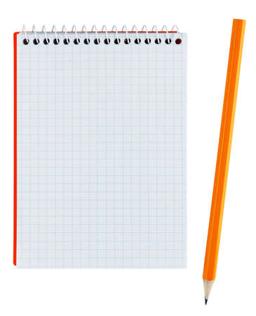 scratchpad: Pencil and notebook isolated on white Stock Photo
