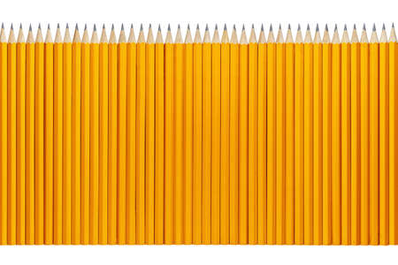 Pencils in a row isolated on white Stock Photo