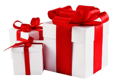 present: Presents with red bows isolated on white