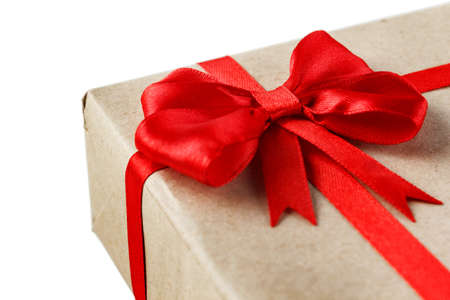 Gift box with red bow isolated on white