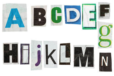 alphabetical order: Letters cut out from newspaper isolated on white