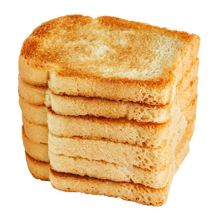 burned out: Pile of toasts isolated on white Stock Photo