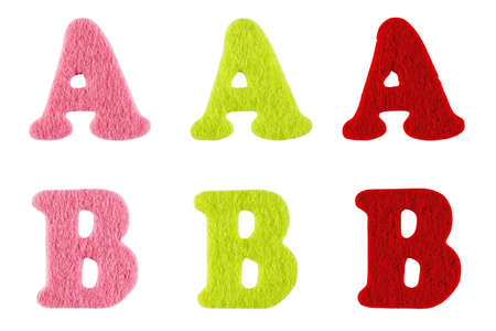 Letters of the alphabet made of felt isolated on white