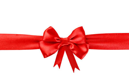 red bow: Red ribbon with a bow isolated on white