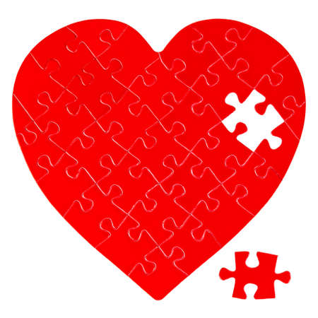incomplete: Incomplete jigsaw puzzle in a shape of a heart isolated on white