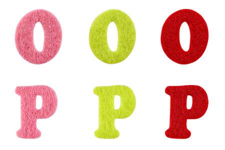 lettre alphabet: Lettres de l'alphabet en feutre d�tour�s sur blanc