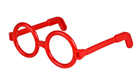 rim: Red toy rim glasses isolated on white Stock Photo