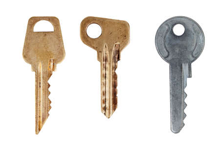 Old keys isolated on white