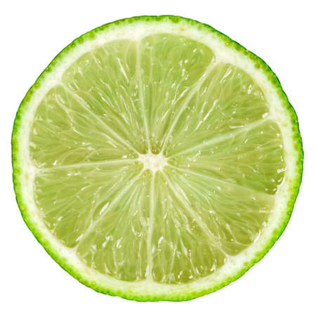 Slice of lime isolated on white Stock Photo
