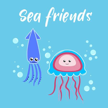 Sea friends jellyfish and squid Illustration