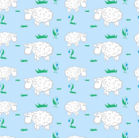 草原の背景パターンの羊  イラスト・ベクター素材