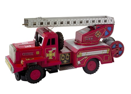 rare vintage fire truck toy isolated on white (clipping path) photo