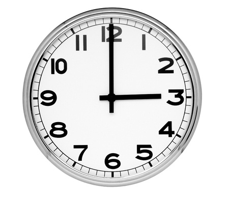 Classic clock on wall reads three isolated on white background Stock Photo - 12405762