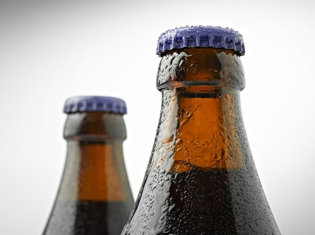 cuello de una botella de cerveza trapense con una tapa photo