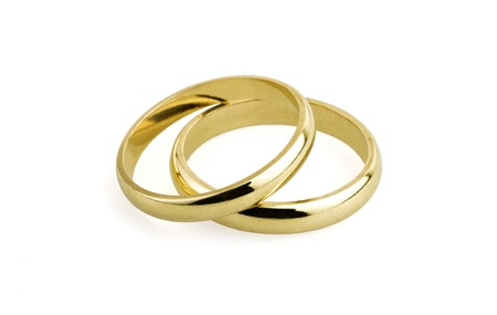 wedding band: old wedding rings (clipping path )