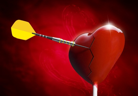 Broken Heart-shaped lollipop hit by an arrow for the Valentines day photo