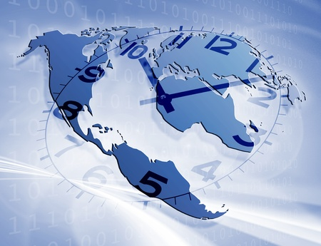 Concept of passing time on world map Stock Photo